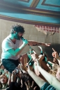 Yannis Philippakis of Foals getting involved with the front row. Photo © Katy Blackwood.