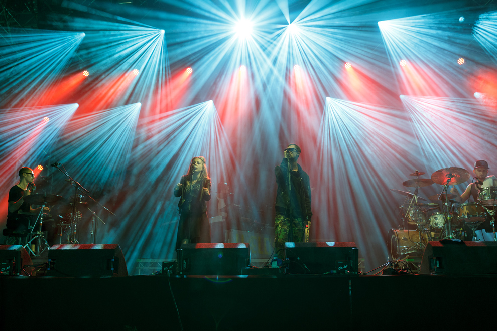 HÆLOS being bathed in beautiful lighting during their set at Leeds Festival on 27 August 2016. Photo © Katy Blackwood.