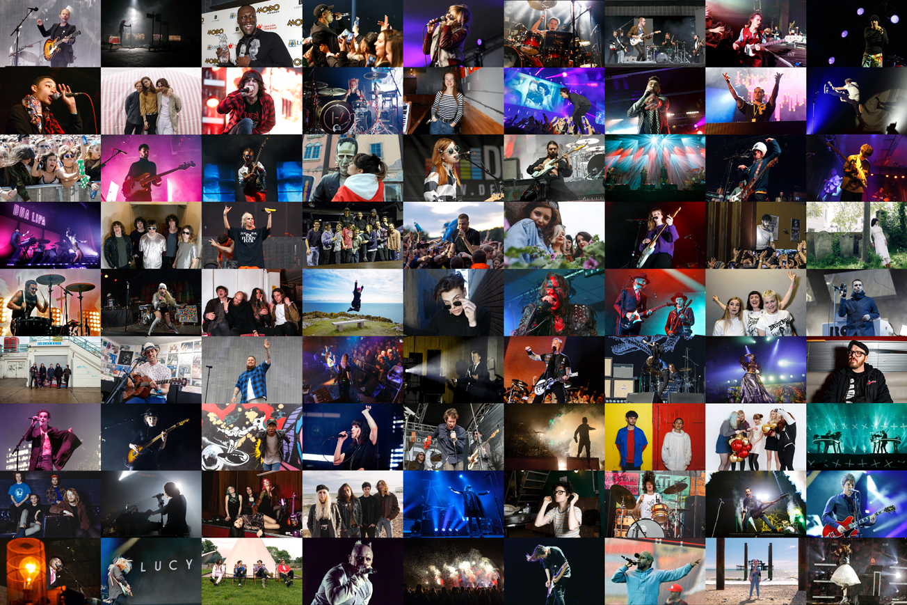 A collage of music photography by Katy Blackwood