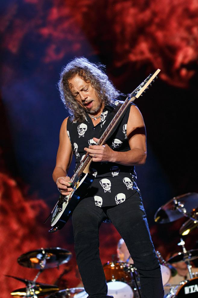 Kirk Hammett of Metallica on stage during their headline set at Leeds Festival 2015. Photo © Katy Blackwood.
