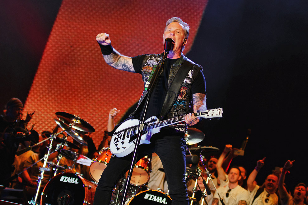 James Hetfield of Metallica on-stage at Leeds Festival 2015. Photo © Katy Blackwood.