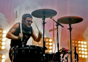 Isaac Holman of Slaves drumming on-stage at Leeds Festival 2015. Photo © Katy Blackwood