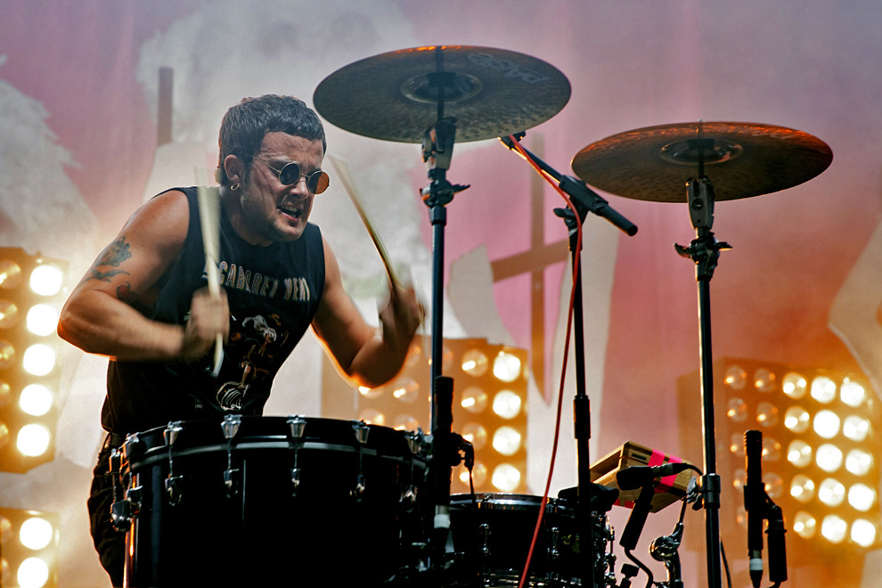 Isaac Holman of Slaves drumming on-stage at Leeds Festival 2015. Photo © Katy Blackwood
