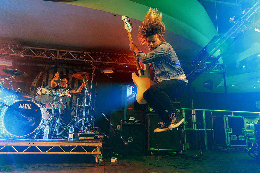 Rob Lane of power pop band Teenage Casket Company on-stage in Pwllheli, United Kingdom on 12 March 2016. Photo © Katy Blackwood.